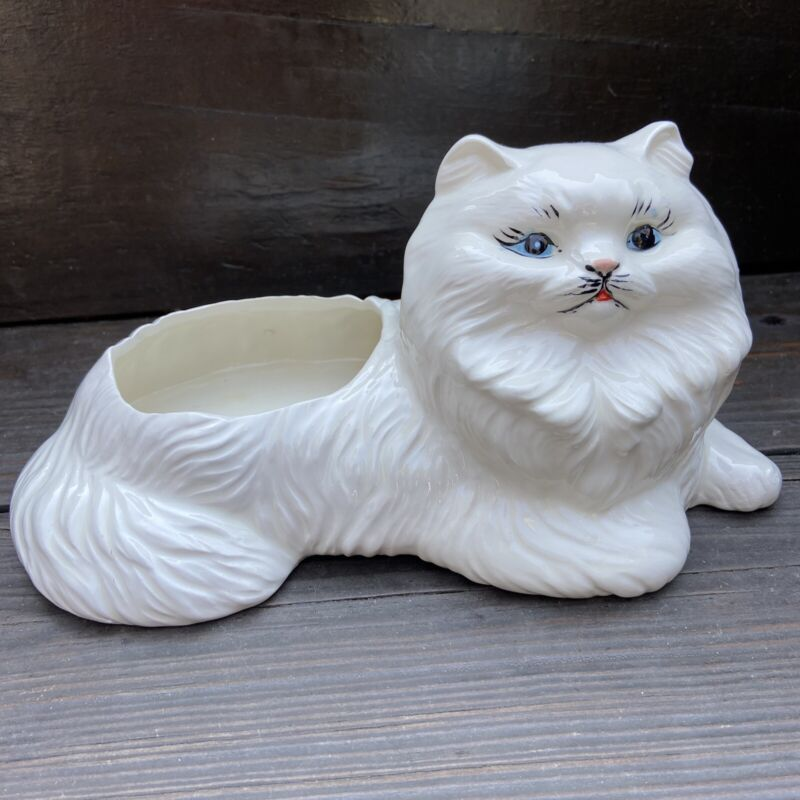 Vintage Pottery White Cat Planter Persian Perfect For Succulants