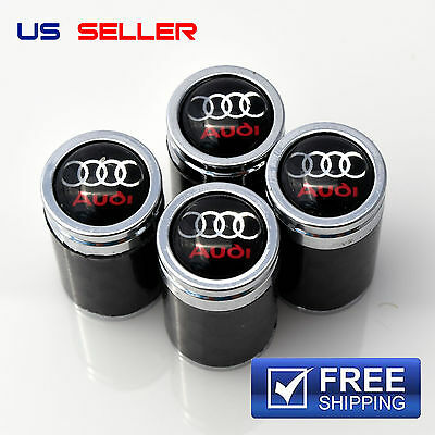 CARBON FIBER AUDI  VALVE STEM CAPS  WHEEL TIRE   US SELLER VC03