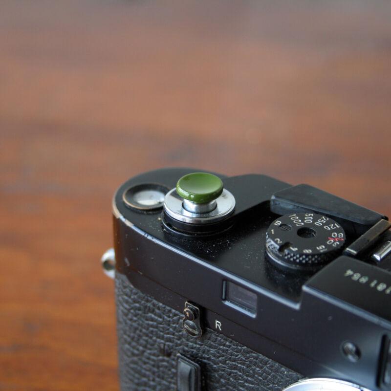 Olive Safari Concave S Soft Release Button for Leica MP M9 Fuji X100 Nikon Canon