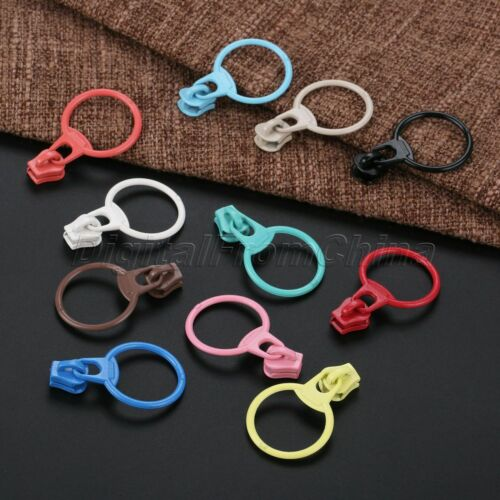 10Pcs Resin Zipper Closed End Pull Ring Zip For Bags Wallet Craft UK Stock