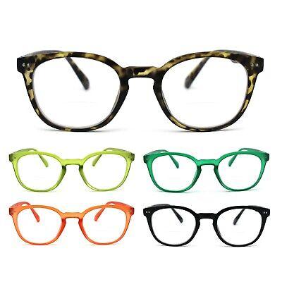 Unisex Round Keyhole Plastic Rim Bi-focal Reading (Round Rimmed Glasses)