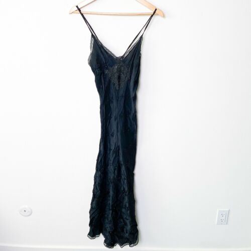 Vintage Christian Dior black floral lace embroidered silky maxi slip dress FLAW
