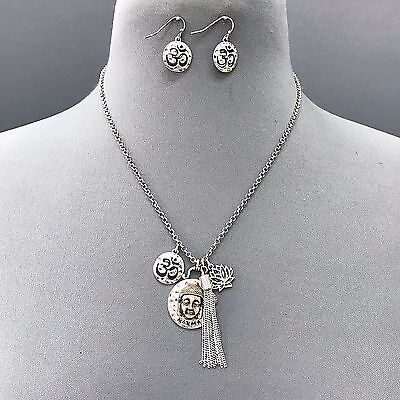 Lotus Flower Buddha (Bohemian Antique Silver Buddha Lotus Flower Tassel Charm Necklace With Earrings  )