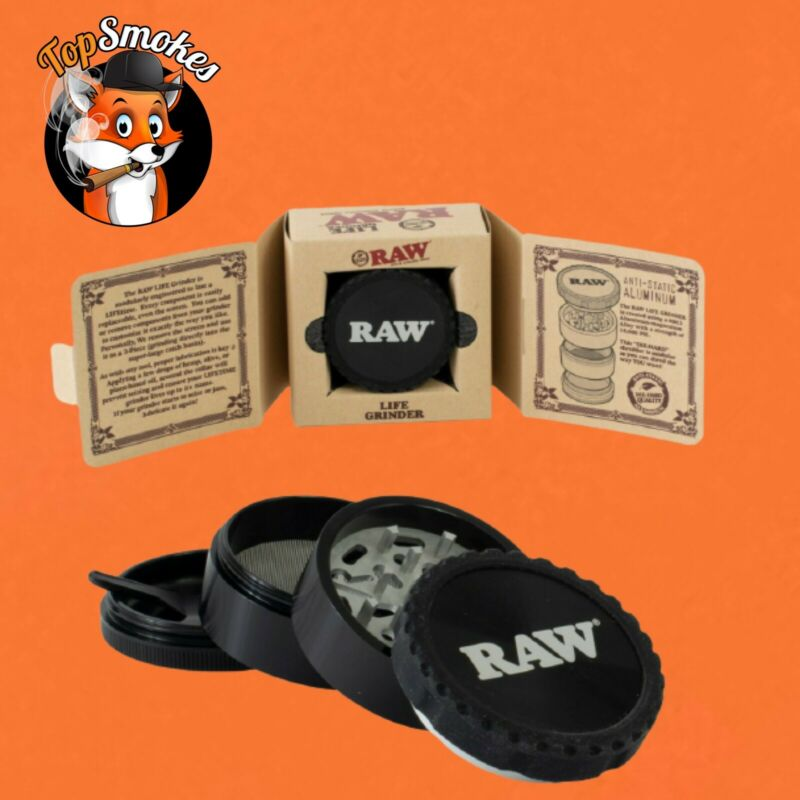 RAW Life 4-Piece Herb Grinder Version 3 V3 - Black Authentic