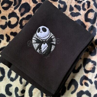 Disney Nightmare Before Christmas Black Fleece Throw Blanket Jack NBC