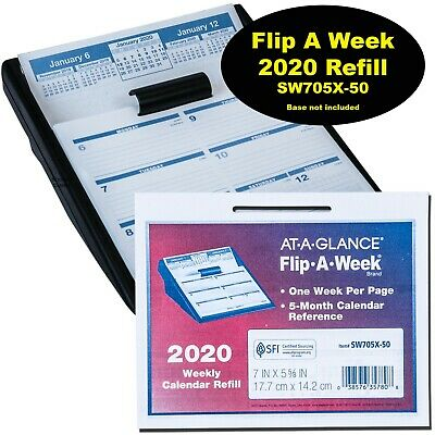 Flip A Week Calendar - 2020 At-A-Glance SW705X-50 Flip-A-Week Calendar Refill, 7 x 5-5/8