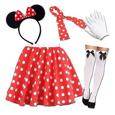 Damen Minnie Maus Kostüm Rot Gepunktet Rock Ohren Weiße Handschuhe