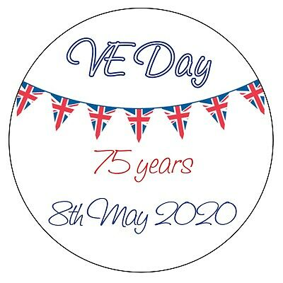 35 x Personalised Union Jack VE DAY Bunting Stickers ROYAL Party Bag  841