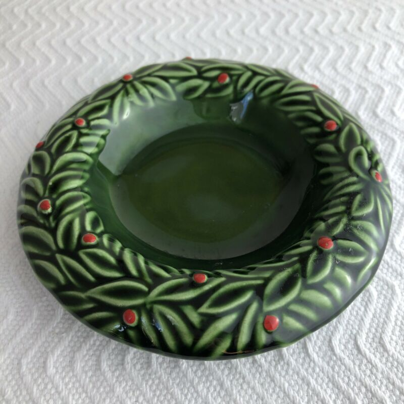 Vintage 90s PIER 1 Christmas Green Holly Ceramic Trinket Dish Candle Made Italy