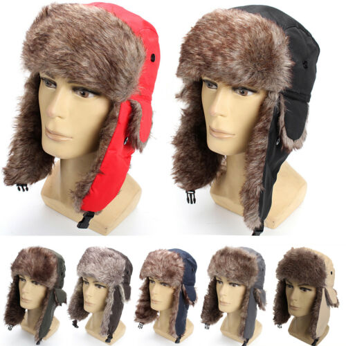 US Mens Aviator Bomber Winter Hat Trooper Faux Fur Lining Wi
