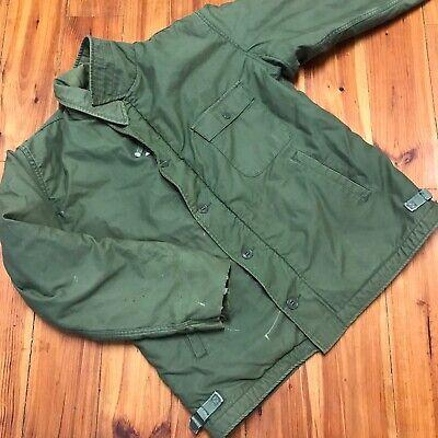 Vintage Vietnam Era 70s Navy A-2 Deck Jacket Cold Weather Permeable M/L Olive A2