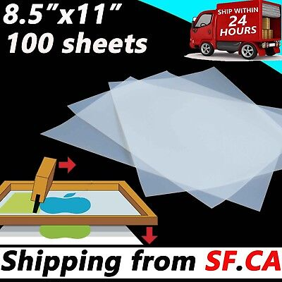 100 Sheets8-12 X 11 Blackout Waterproof Inkjet Transparency Positive Film