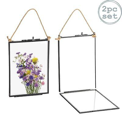 Hanging Photo Frame Vintage Glass Picture Wall Display - 5x7 Photos - Pack of 2