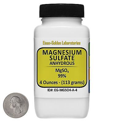 Magnesium Sulfate Anhydrous Mgso4 99 Acs Grade Powder 4 Oz In A Bottle Usa