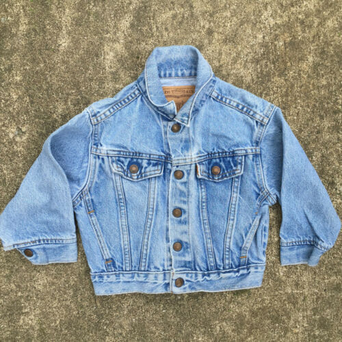 Vintage 80s Levis Distressed Worn Denim Jean Jacket Coat Kids Youth Boys 3T USA