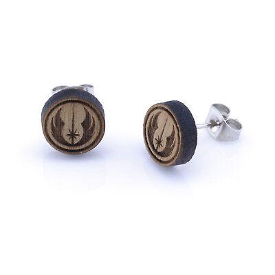 Star Wars Jedi Order Wooden Ear Studs Round Wood Earring Unisex 10mm