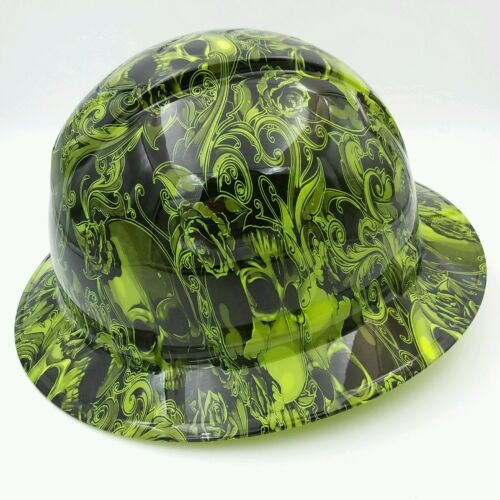 Hard Hat FULL BRIM  custom hydro dipped , OSHA approved SKULLS N ROSES LIME  1