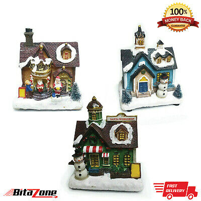 LED Light Up Christmas House Vintage Village Scene Traditional Battery Operated