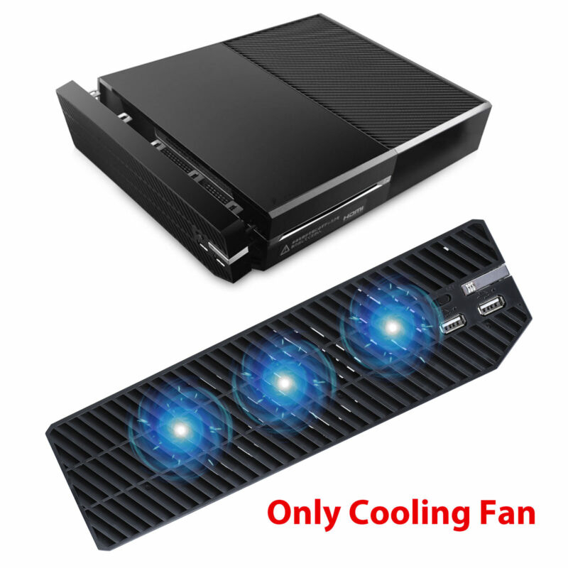 3 Fan for Xbox One Console Host Cooling Fan Cooler External w/ 2 USB Charger US