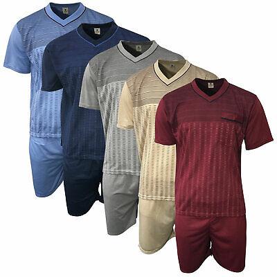 Herren Schlafanzug kurz Shorty T-Shirt bedruckt Hose uni in verschiedenen Farben