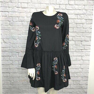 Zara XS Black Embroidered Mini Dress Bell Sleeve Side Pockets Flounce Boho Dress