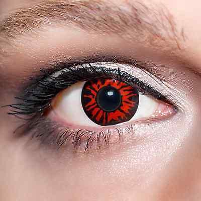 2 Rote Kontaktlinsen mit Behälter -Halloween- Dämon, farbige Jahreslinsen;K515