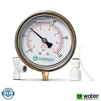 Glycerin Filled Pressure Gauge 1-100 Psi For Ro Rodi Water Filter Systems