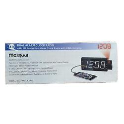 Mesqool Dual Alarm Clock Radio Projection Alarm Clock With USB Charging NEW!!!