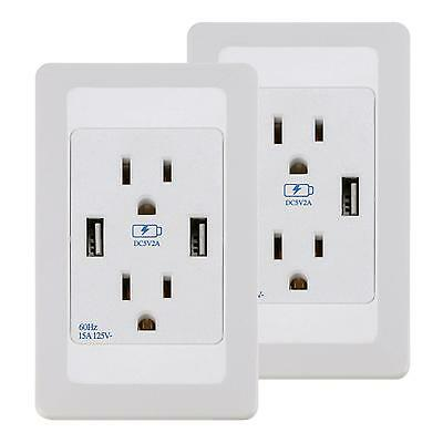 2 PCS Dual USB Port Wall Socket Charger AC Power Receptacle Outlet Plate Panel