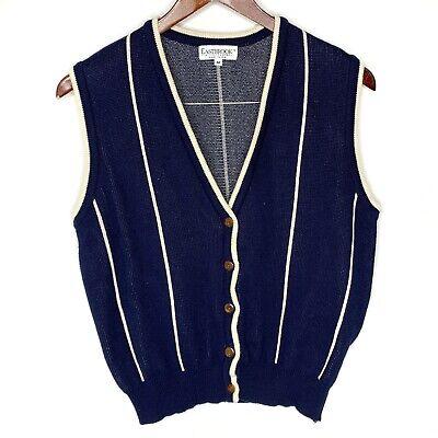 Vintage Eastbrook Men's Blue Striped Button Up Sweater Vest Size M Medium