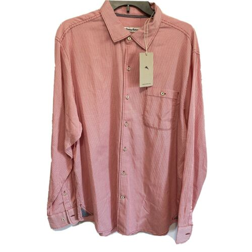 $125 Tommy Bahama Mens L/S Twilly Check Button Front Shirt XL Pink Beach Casual Button-Down Shirts