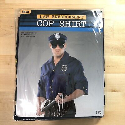 Men's Law Enforcement Police Officer Halloween Costume Cop Shirt Only Adult
