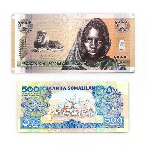 Set of 2 diff. Somaliland 1996 500 Sh. & 2006 1000 Sh. Au-Unc.