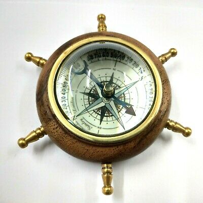 Antique Brass Wheel Floating Dial Compass Maritime Collectible Gift