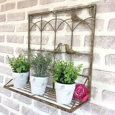 Shabby Chic Vintage Style Metal Wall Pots Shelf Pot Stand Garden Plant Planter