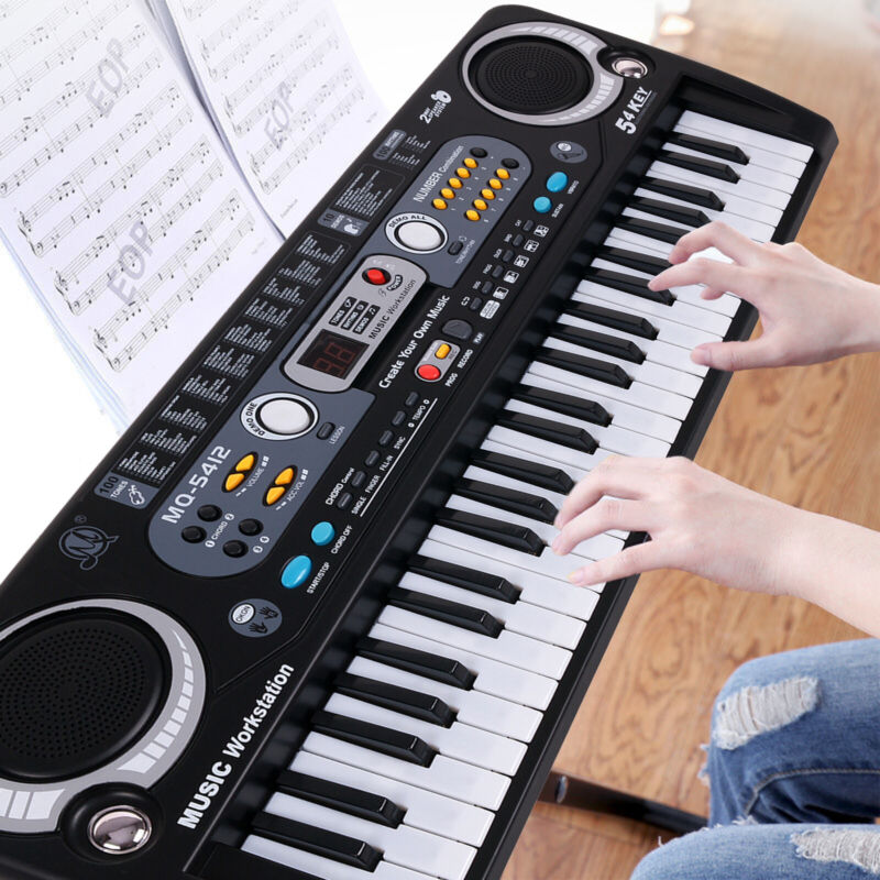 Digital Piano Keyboard 54 Key - Portable LCD Display Electronic Instrument + Mic