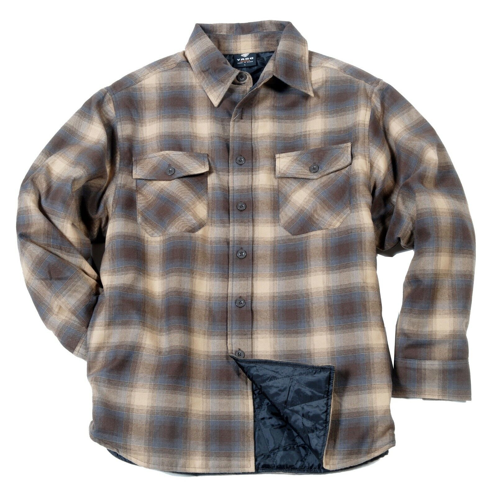 YAGO Men's Plaid Flannel Button Down Casual Shirt Jacket Bei