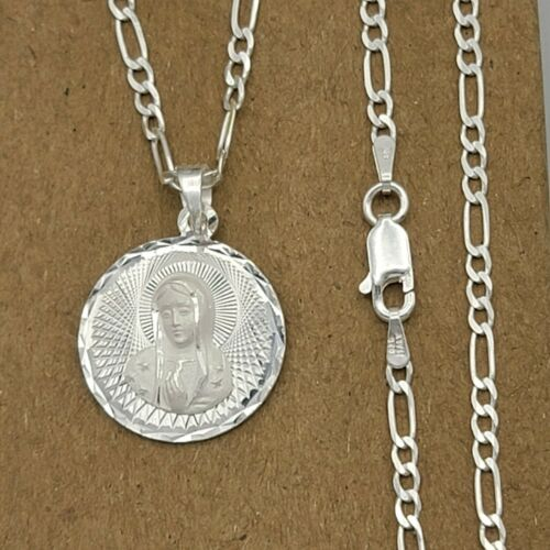 Our Lady Guadalupe Pendant Necklace. 925 Solid Sterling Silver. Virgen Guadalupe