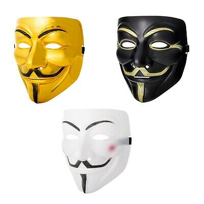 New 1-10 Guy Fawkes Anonymous Face Masks Hacker V For Vendetta Fancy Dress UK