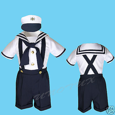 NEW Baby Boy & Toddler Sailor Formal Party Suit Outfits NAVY SZ: S,M,L 2T 3T 4T (Male Sailor Outfit)