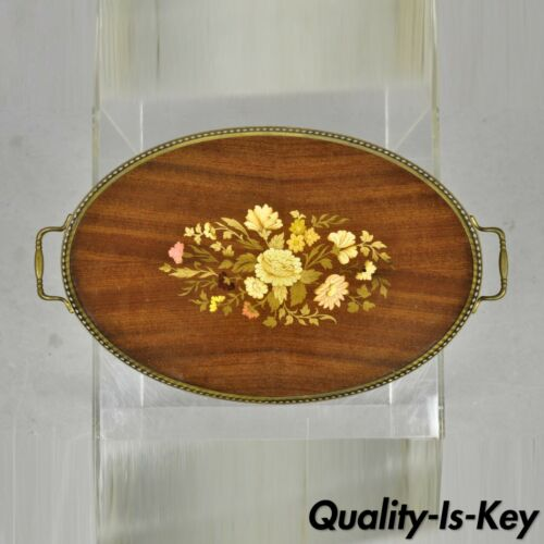 Vintage Italian Florentine Wood Floral Inlaid Oval Serving Platter Tray