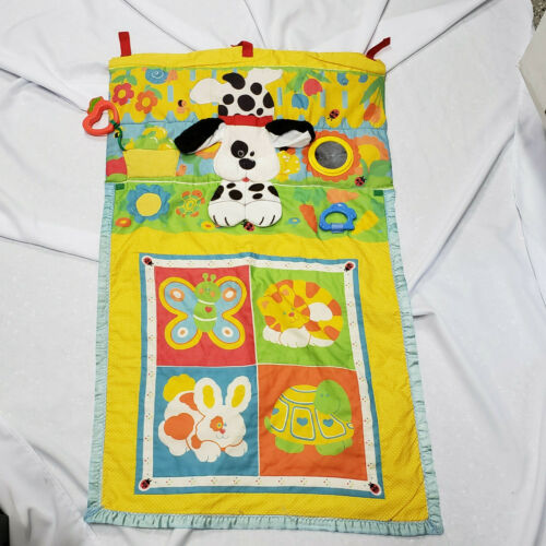 Fisher Price Fold N Go Baby Activity Play Mat 1987 Dog Bunny Cat Vintage 1004