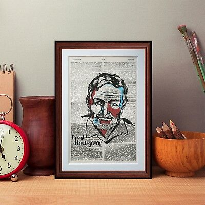 Ernest Hemingway dictionary page art print - Vintage wall art gift  A41
