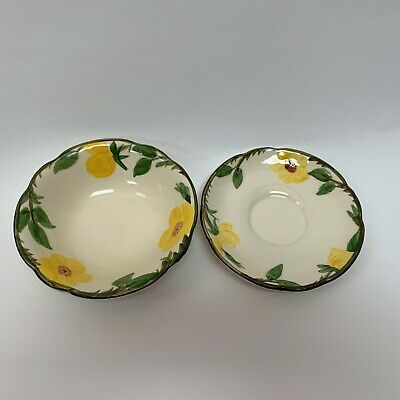 Franciscan Mountain Rose Bowl and Saucer Yellow Flower Lot of 2 Yellow Rose Bowls