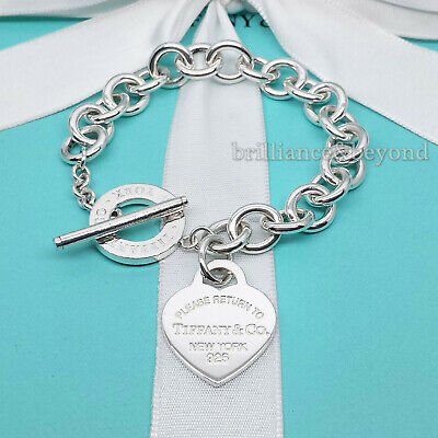 Return to Tiffany & Co. Heart Tag Toggle Charm Bracelet Silver New Version Small Silver Heart Charm Toggle Bracelet