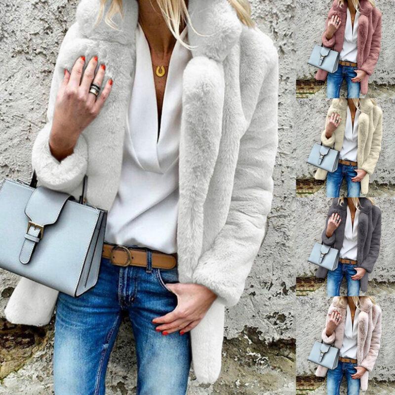 Womens Faux Fur Plush Long Sleeve Lapel Coat Solid Winter Th