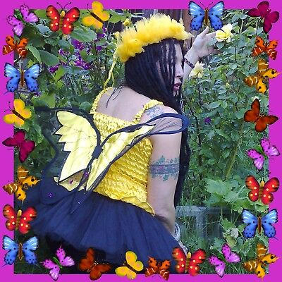 Butterfly Costume Uk (Adult butterfly fairy wing top in yellow or orange festival costume UK)