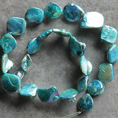 Aqua Blue Mother of Pearl 15-20mm Diamond Nugget Gemstone Shell Beads 15""