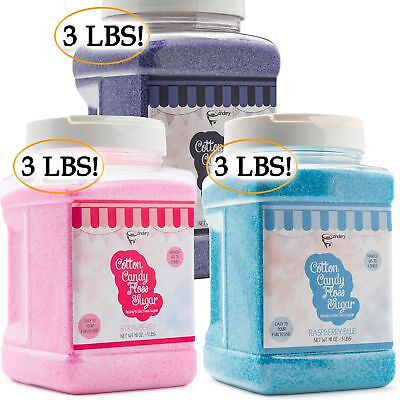 The Candery Cotton Candy Floss Sugar 3-pack Strawberry Raspberry Blue And