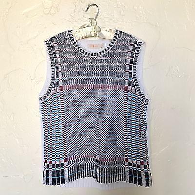 Jacquard Knit Shell (NWT Tory Burch Floating Basketweave Jacquard Knit Sweater Shell Size L)